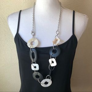 Cookie Lee Chunky Statement Necklace Black Ivory